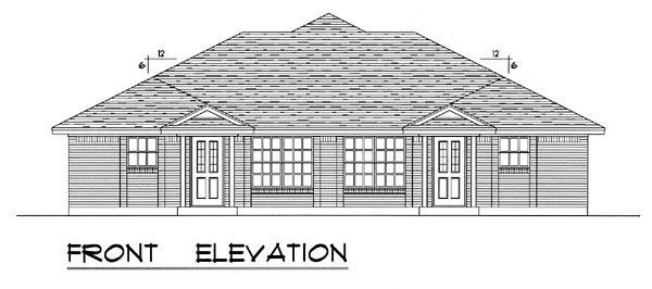 Country, Narrow Lot, Ranch, Traditional Multi-Family Plan 60816 with 4 Beds, 4 Baths, 4 Car Garage Picture 3