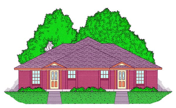Country, Narrow Lot, Traditional Multi-Family Plan 60817 with 4 Beds, 4 Baths, 4 Car Garage Elevation