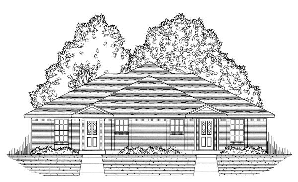 Country, Narrow Lot, Traditional Multi-Family Plan 60817 with 4 Beds, 4 Baths, 4 Car Garage Picture 4