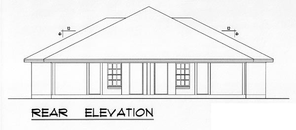Country, Narrow Lot, Traditional Multi-Family Plan 60817 with 4 Beds, 4 Baths, 4 Car Garage Rear Elevation