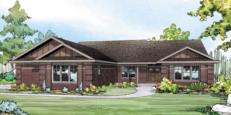 Contemporary, Ranch, Traditional, Tudor House Plan 60917 with 3 Beds, 3 Baths, 3 Car Garage Elevation