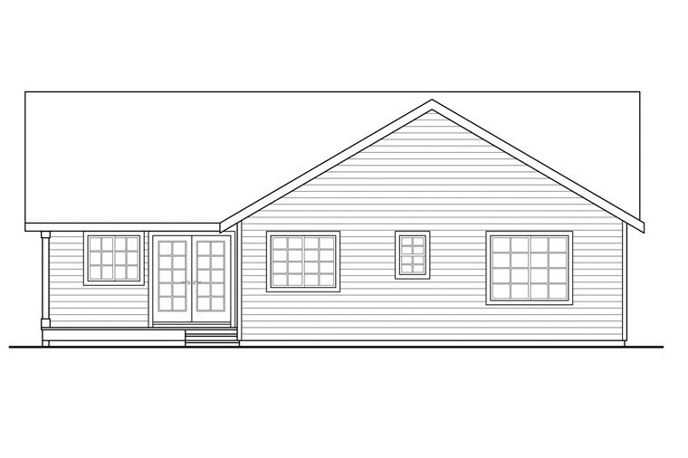 Contemporary, Country, Prairie, Ranch House Plan 60950 with 3 Beds, 2 Baths, 2 Car Garage Rear Elevation
