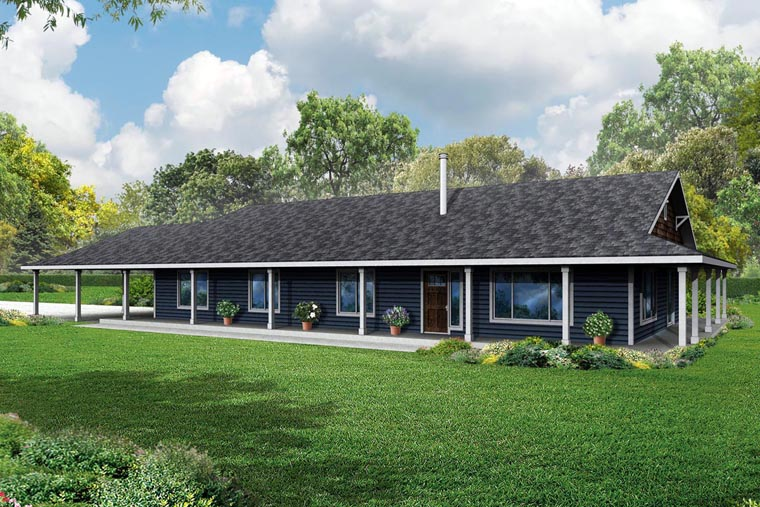 Country, Florida, Prairie, Ranch House Plan 60952 with 3 Beds, 2 Baths, 2 Car Garage Elevation