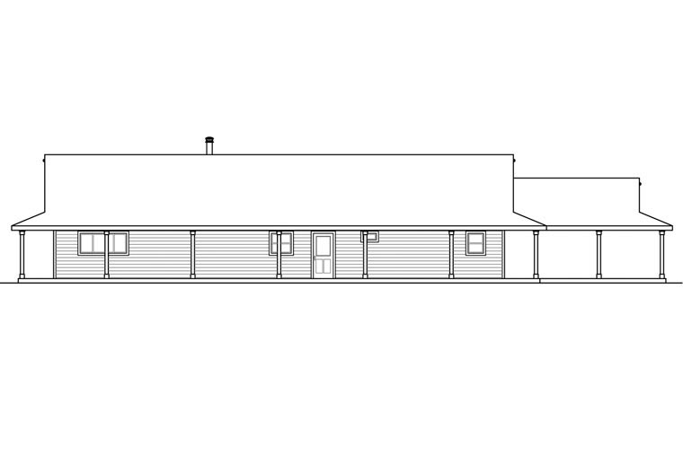 Country, Florida, Prairie, Ranch House Plan 60952 with 3 Beds, 2 Baths, 2 Car Garage Rear Elevation