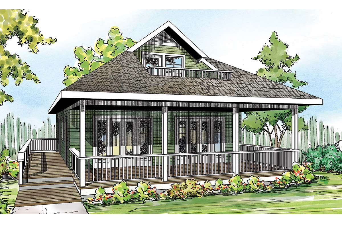 Cape Cod, Contemporary, Cottage, Country, Craftsman House Plan 60953 with 2 Beds, 2 Baths Elevation