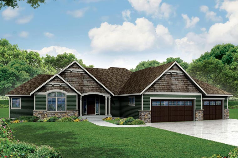 Craftsman, Ranch, Traditional House Plan 60954 with 3 Beds, 4 Baths, 3 Car Garage Elevation