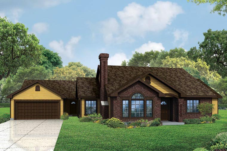 Cottage, Country, European, Traditional House Plan 60959 with 5 Beds, 3 Baths, 2 Car Garage Front Elevation