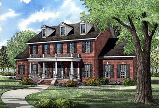 Colonial, Plantation, Southern House Plan 61022 with 5 Beds, 4 Baths, 2 Car Garage Elevation