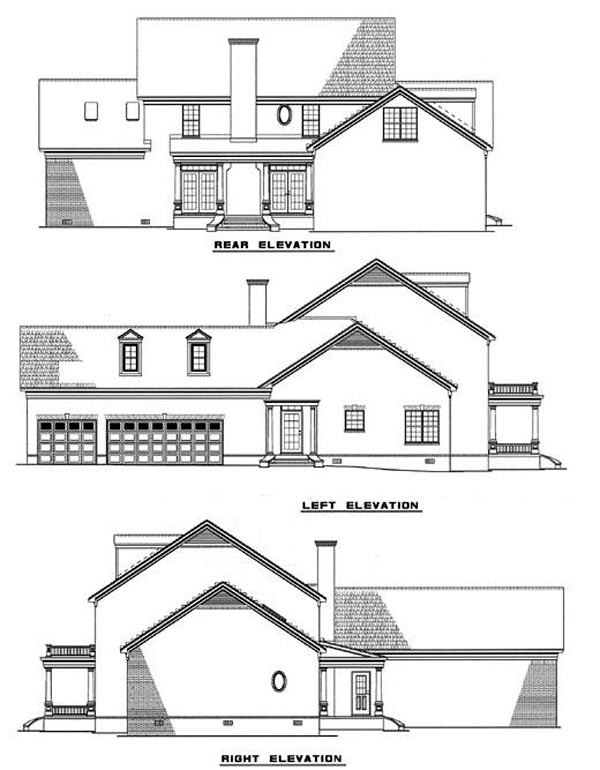 Colonial, Plantation, Southern House Plan 61022 with 5 Beds, 4 Baths, 2 Car Garage Rear Elevation