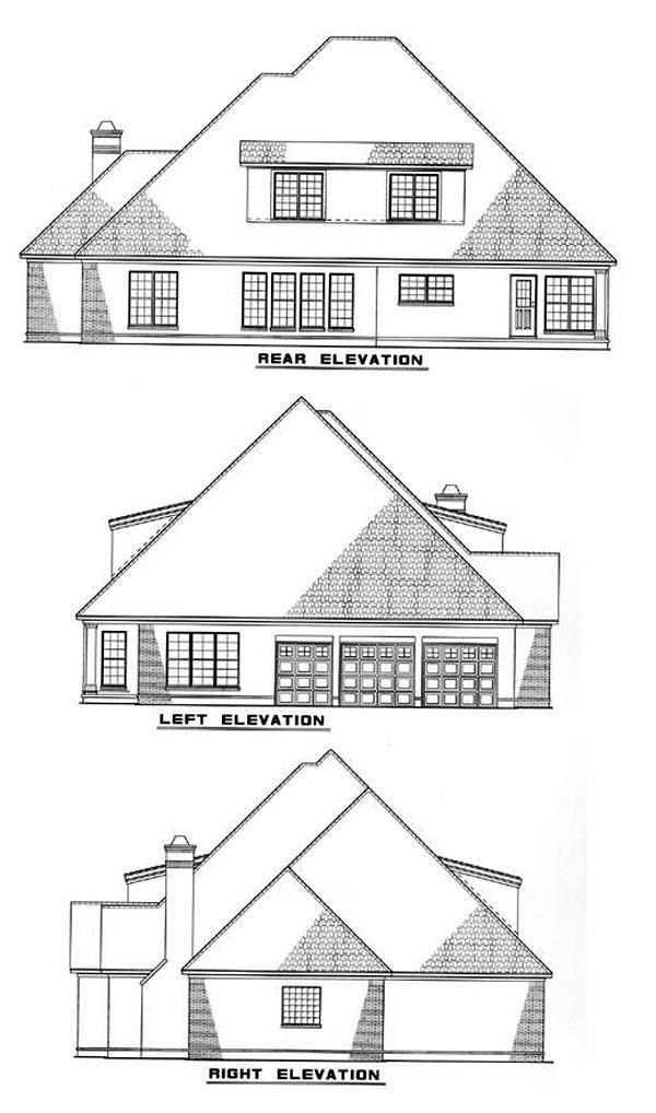 European House Plan 61023 with 5 Beds, 6 Baths, 2 Car Garage Rear Elevation