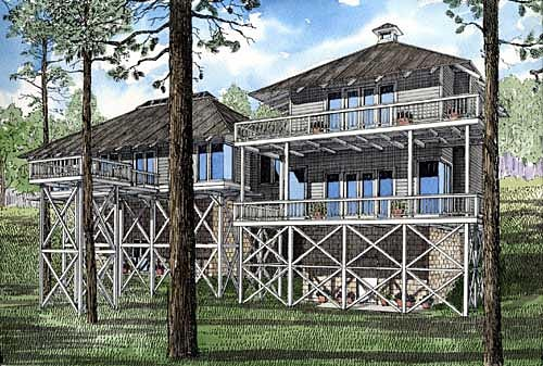 Country, Southern House Plan 61066 with 2 Beds, 3 Baths Rear Elevation