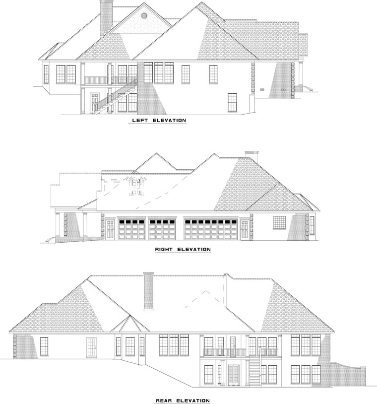 European, Traditional House Plan 61079 with 5 Beds, 5 Baths, 3 Car Garage Rear Elevation