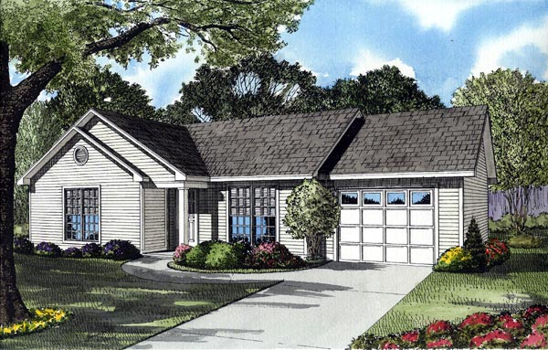 One-Story, Ranch, Traditional House Plan 61093 with 3 Beds, 1 Baths Elevation