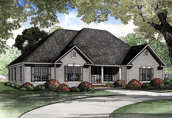 One-Story, Traditional House Plan 61159 with 4 Beds, 3 Baths, 3 Car Garage Elevation