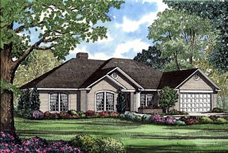 One-Story, Traditional House Plan 61170 with 4 Beds, 3 Baths, 2 Car Garage Elevation