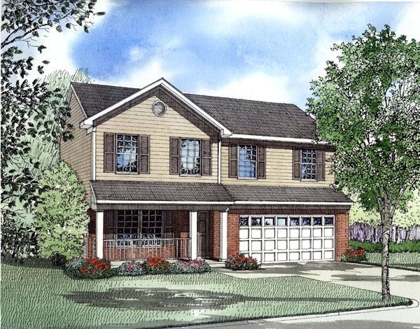 Narrow Lot, Traditional House Plan 61210 with 4 Beds, 3 Baths, 2 Car Garage Front Elevation