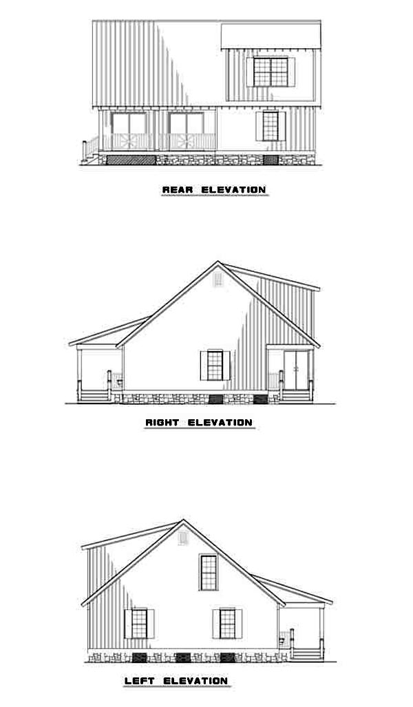 Country, Narrow Lot House Plan 61221 with 4 Beds, 2 Baths, 2 Car Garage Rear Elevation