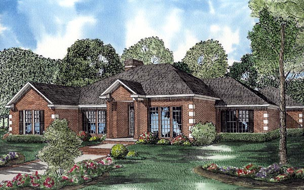 Contemporary, One-Story House Plan 61240 with 4 Beds, 3 Baths, 3 Car Garage Elevation