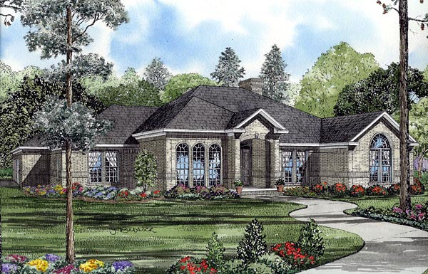 European, One-Story House Plan 61260 with 4 Beds, 3 Baths, 3 Car Garage Elevation
