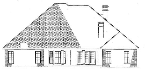 Traditional House Plan 61271 with 4 Beds, 3 Baths, 2 Car Garage Rear Elevation