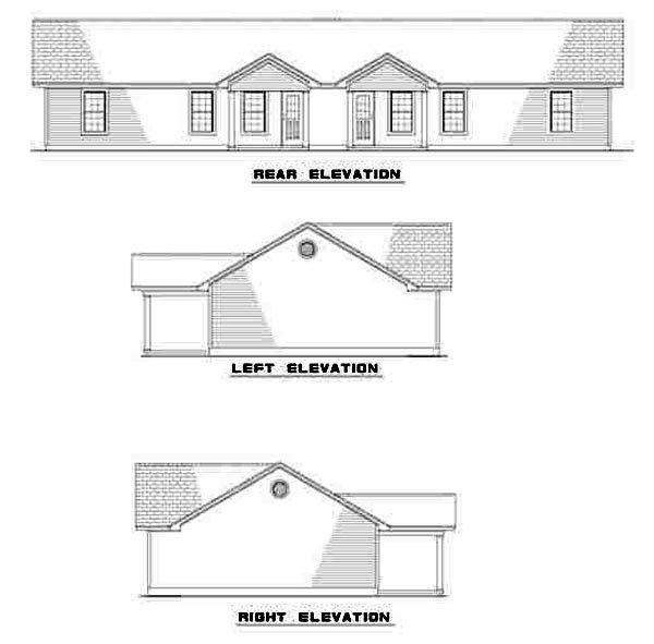 One-Story, Ranch Multi-Family Plan 61274 with 6 Beds, 2 Baths Rear Elevation