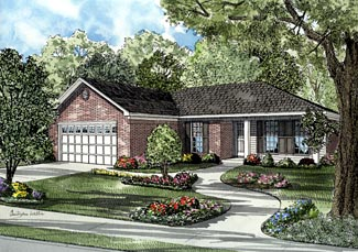 Colonial, One-Story House Plan 61285 with 3 Beds, 2 Baths, 2 Car Garage Front Elevation