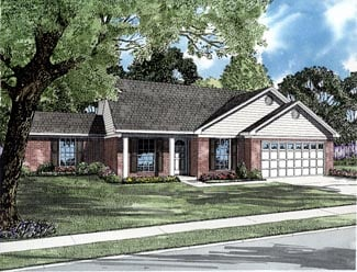 Colonial, One-Story House Plan 61287 with 4 Beds, 2 Baths, 2 Car Garage Front Elevation
