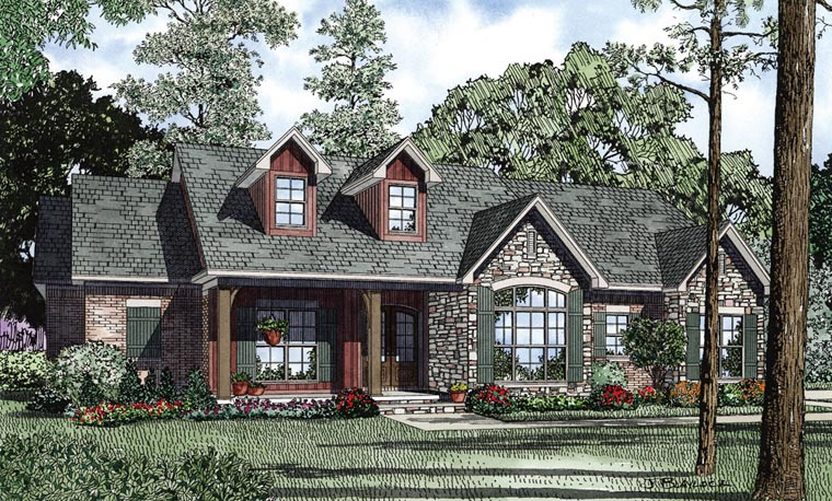 Country, Craftsman, Ranch, Traditional House Plan 61297 with 3 Beds, 3 Baths, 2 Car Garage Elevation