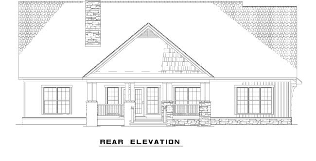 Country House Plan 61332 with 4 Beds, 4 Baths, 2 Car Garage Rear Elevation