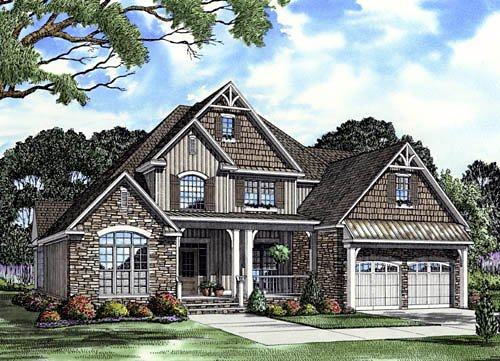 Craftsman, Traditional House Plan 61333 with 3 Beds, 3 Baths, 2 Car Garage Front Elevation