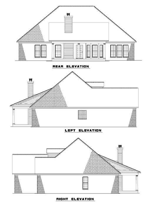 House Plan 61369 with 4 Beds, 2 Baths, 2 Car Garage Rear Elevation