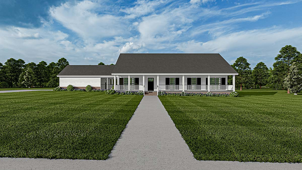 Country, One-Story, Ranch, Southern House Plan 61392 with 3 Beds, 2 Baths, 2 Car Garage Front Elevation