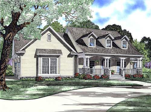 Cape Cod, Country, Craftsman House Plan 61393 with 4 Beds, 3 Baths, 3 Car Garage Elevation