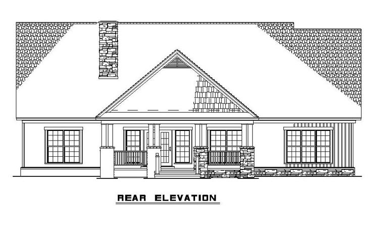 Craftsman House Plan 61395 with 4 Beds, 4 Baths, 2 Car Garage Rear Elevation