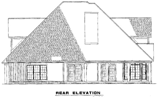 House Plan 61396 with 3 Beds, 3 Baths, 2 Car Garage Rear Elevation