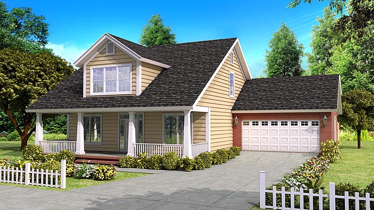 Cape Cod, Country, Traditional House Plan 61400 with 4 Beds, 4 Baths, 2 Car Garage Elevation