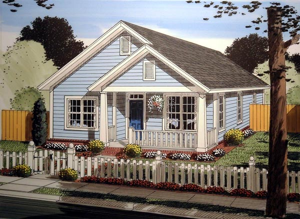 Cottage, Traditional House Plan 61404 with 3 Beds, 2 Baths Elevation