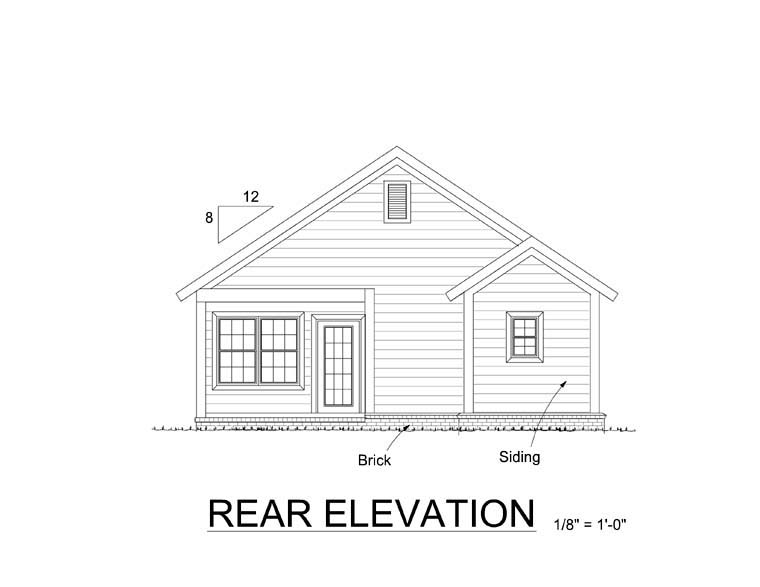 Cottage, Traditional House Plan 61404 with 3 Beds, 2 Baths Rear Elevation