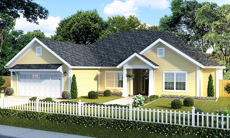 Traditional House Plan 61417 with 5 Beds, 3 Baths, 2 Car Garage Elevation