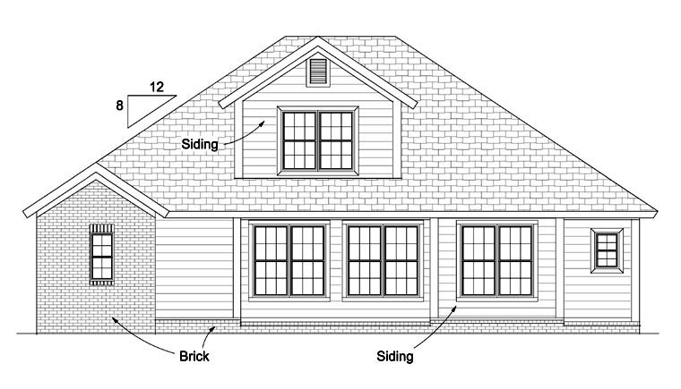 Cottage, Traditional House Plan 61422 with 4 Beds, 3 Baths, 2 Car Garage Rear Elevation