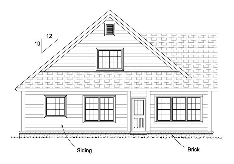 Cottage, Country, Traditional House Plan 61433 with 3 Beds, 3 Baths, 2 Car Garage Rear Elevation