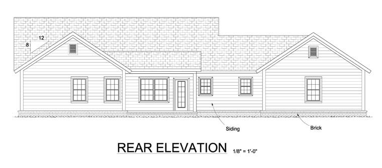 Ranch, Traditional House Plan 61444 with 4 Beds, 3 Baths, 3 Car Garage Rear Elevation