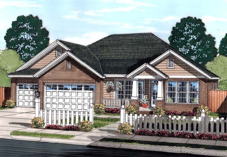 Bungalow, Traditional House Plan 61445 with 4 Beds, 3 Baths, 3 Car Garage Front Elevation