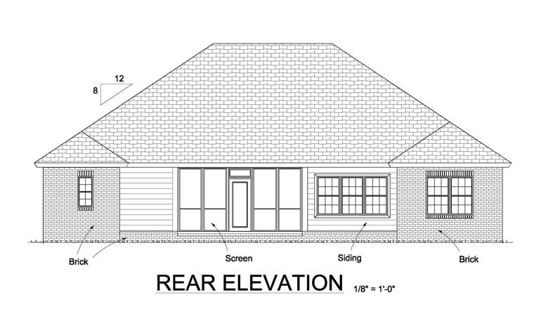 Bungalow, Traditional House Plan 61445 with 4 Beds, 3 Baths, 3 Car Garage Rear Elevation