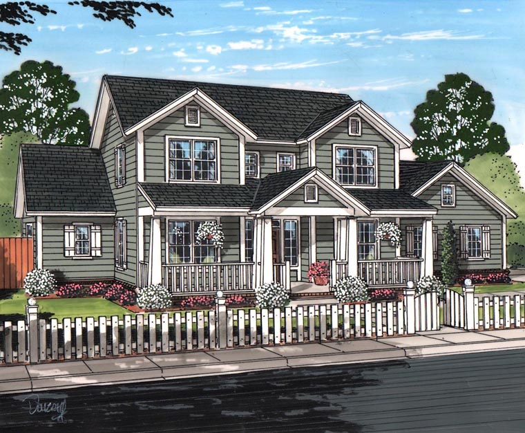 Cottage, Craftsman, Traditional House Plan 61457 with 3 Beds, 3 Baths, 3 Car Garage Elevation