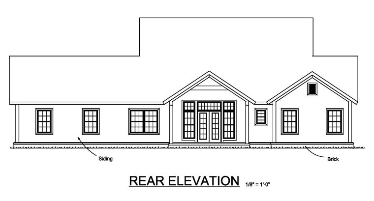 Cottage, Craftsman, Traditional House Plan 61457 with 3 Beds, 3 Baths, 3 Car Garage Rear Elevation