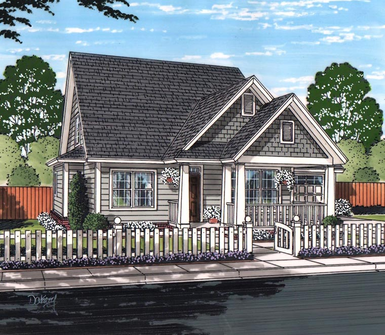 Cottage, Craftsman, Traditional House Plan 61461 with 4 Beds, 4 Baths, 2 Car Garage Elevation