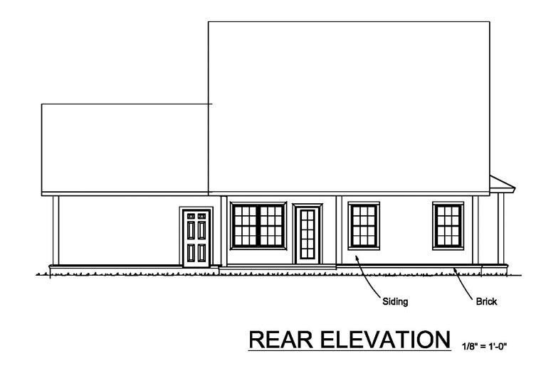 Cottage, Craftsman, Traditional House Plan 61461 with 4 Beds, 4 Baths, 2 Car Garage Rear Elevation
