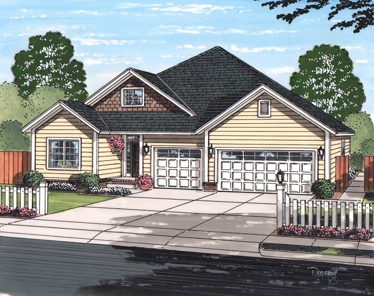 Cottage, Craftsman, Traditional House Plan 61467 with 5 Beds, 3 Baths, 3 Car Garage Elevation