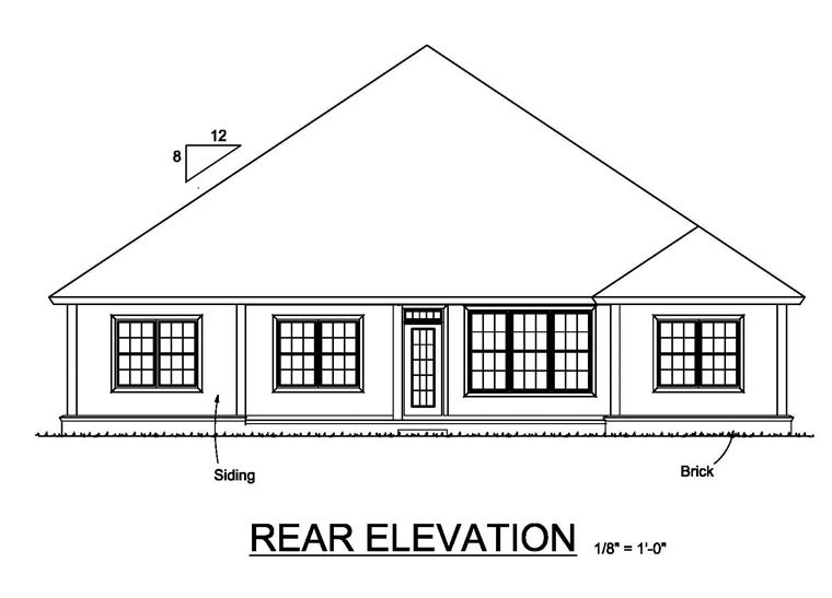 Cottage, Craftsman, Traditional House Plan 61467 with 5 Beds, 3 Baths, 3 Car Garage Rear Elevation